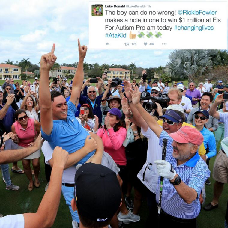 Rickie Fowler sinks a Hole in One for $1 Million