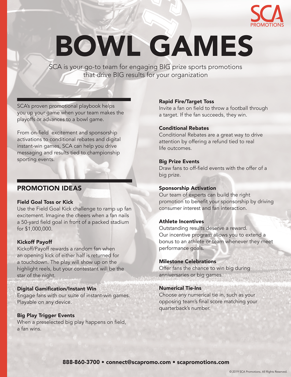 Football Bowl Games and Playoff Promotions by SCA
